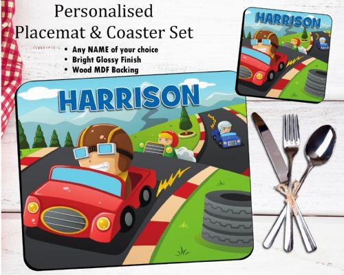 Personalised Kids Table Placemat & Coaster Set N38 - Racing Cars Design